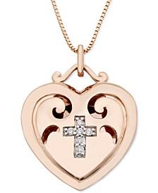 "Diamond Accent Cross Heart Locket 18"" Pendant Necklace in 10k Rose Gold"