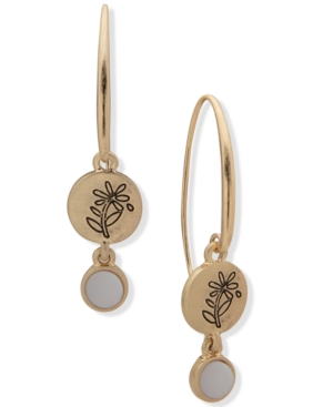 Gold-Tone Engraved Leaf Vine Coin & Stone Double Drop Threader Earrings