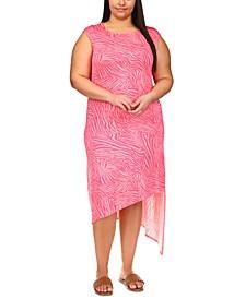 Plus Size Printed Asymmetrical-Hem Dress