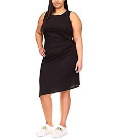 Plus Size Draped Asymmetrical-Hem Dress
