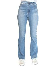 Crave Fame Juniors' Lace-Back Frayed-Hem Flare-Leg Denim Jeans