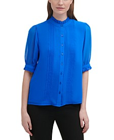 Ruffled Button-Up Blouse