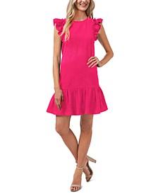 Ruffled Flutter-Sleeve Dress