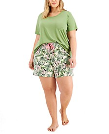 Plus Size Pajama T-Shirt & Knit Pajama Shorts, Created for Macy's