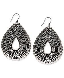 Silver-Tone Tribal Teardrop Earrings