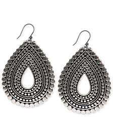 Lucky Brand Silver-Tone Tribal Teardrop Earrings