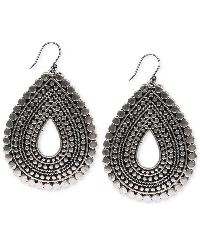 Lucky Brand - Silver-Tone Tribal Teardrop Earrings