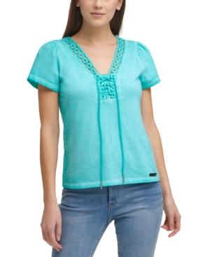 Cotton Lace-Neck Tie Top