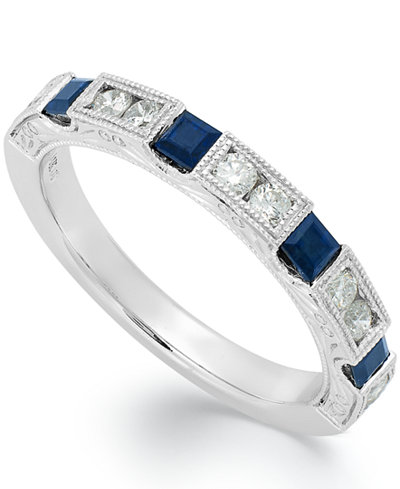 14k White Gold Sapphire (3/8 ct. t.w.) and Diamond (1/3 ct. t.w.) Alternating Ring