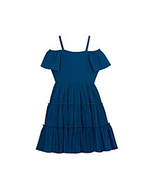 Big Girls Textured Gauze Off The Shoulder Dress