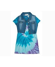 Big Girls Tie Dye Dress with Denim Vest