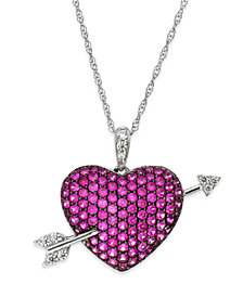 Ruby (1-9/10 ct. t.w.) and Diamond (1/10 ct. t.w.) Heart Pendant Necklace in Sterling Silver