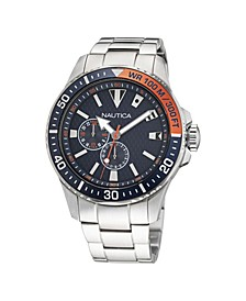 Men's Analog Silver Tone Stainless Steel Bracelet Watch 44 mm