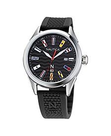 Men's N83 Analog Black Silicone Strap Watch 40 mm