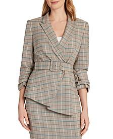 Plaid Asymmetrical-Hem Jacket