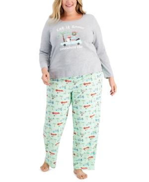 Plus Size Tropical Santa Pajama Set