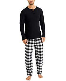 Matching Men's Solid Henley Top & Buffalo Check Family Pajama Set, Created for Macy's