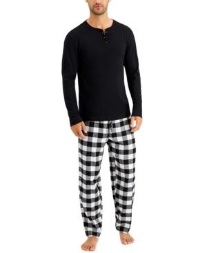 Men's Solid Henley Top & Buffalo Check Pajama Pants Set