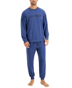 Men's I Love My Crew Fleece Sweatshirt & Jogger Pants Pajama Set