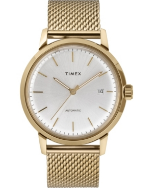TIMEX MEN'S MARLIN AUTOMATIC GOLD-TONE STAINLESS STEEL MESH BRACELET WATCH 40MM
