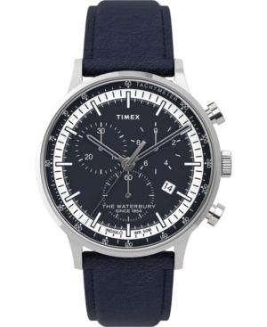 TIMEX MEN'S WATERBURY NAVY BLUE LEATHER STRAP WATCH 40MM