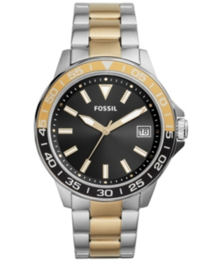 FOSSIL MEN'S BANNON THREE HAND, TWO TONE STAINLESS STEEL BRACELET WATCH 45MM