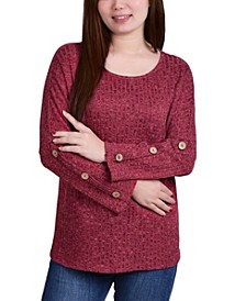 Women's Long Sleeve with Accent Buttons Pullover