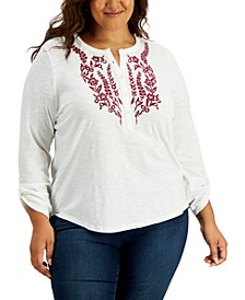 Plus Size Cotton Embroidered Top, Created for Macy's