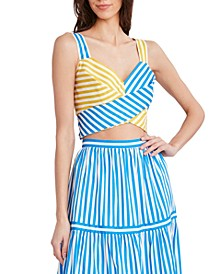 Striped Woven Tie-Back Cropped Top