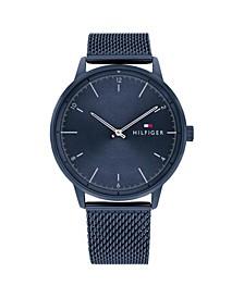 Men's Blue Stainless Steel Mesh Bracelet Watch 43mm