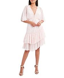 Printed Ruffled Asymmetrical-Hem Dress