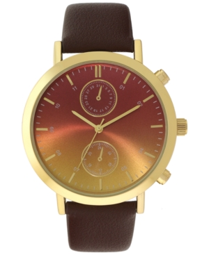 INC INTERNATIONAL CONCEPTS INC MEN'S BROWN FAUX-LEATHER STRAP WATCH 43MM, CREATED FOR MACY'S