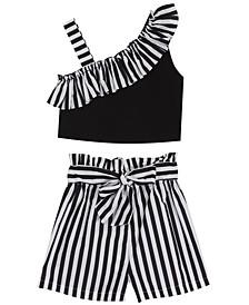 Toddler Girls Stripe One Shoulder Shorts Set