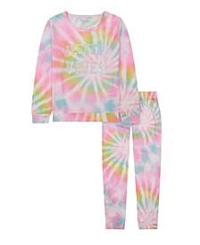 Big Girls Rainbow Tie Dye Long Leg Pajama, 2 Piece Set