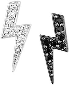 White Diamond (1/20 ct. t.w.) & Black Diamond (1/20 ct. t.w.) Lightening Bolt Cruella Stud Earrings in Sterling Silver & Black Rhodium