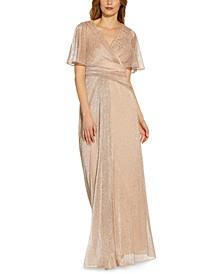 Metallic Floral Print Gown