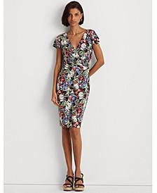 Floral Flutter-Sleeve Surplice Dress