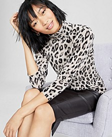 Cashmere Cheetah Turtleneck Sweater, Created for Macy's