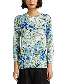 Paisley Three-Quarter Sleeve Sweater