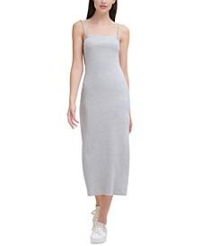 Square-Neck Ribbed Cotton Midi Dress
