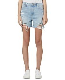 Juniors' Devon Ripped Denim Shorts