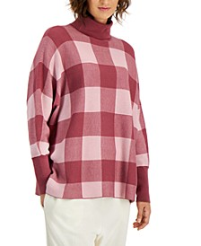 Petite Gingham Turtleneck Sweater, Created for Macy's