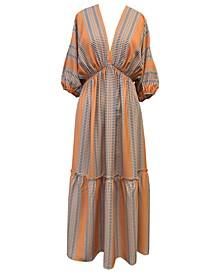 Plus Size Striped Puff-Sleeve Dress