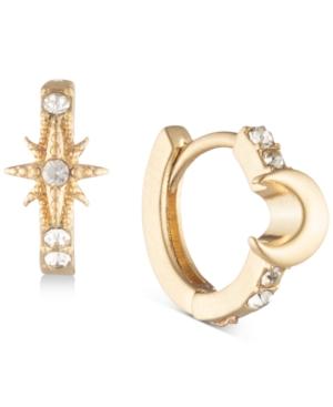 Gold-Tone Star & Moon Huggie Hoop Earrings