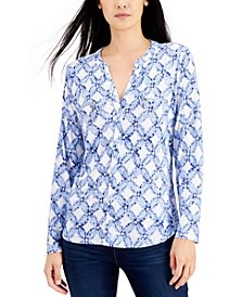 Printed Zip-Detail Top, Created for Macy's