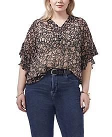 Plus Size Flutter Sleeve Henley Blouse