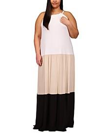 Plus Size Colorblock Maxi Dress