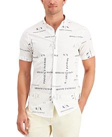 Men's Simply Blue Allover Logo Shirt, Created for Macy's