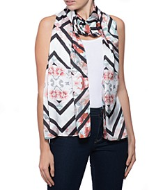 Chevron Floral Oblong Scarf, Created for Macy's