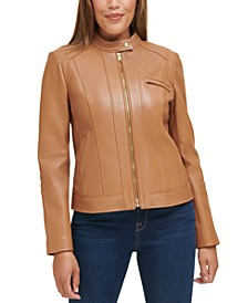 Stand-Collar Leather Moto Coat
